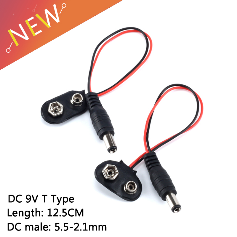 2pcs 9V DC Battery Power Cable Plug Clip barrel jack connector for Arduino  SN