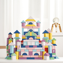 Babycare 101pcs Building Block Wooden Toy Colorful Safe Geometric House Park Baby Multifunction  Toys