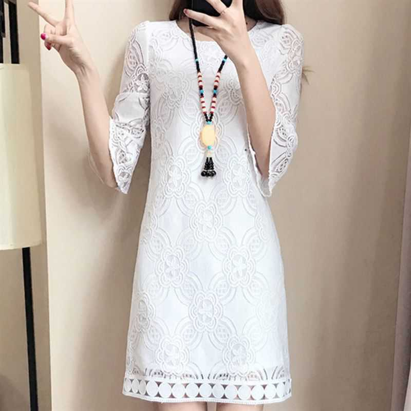 Elegant White Lace Hollow Out Dress Women Vintage 3/4 Sleeve Vestidos 2018 Autumn Winter Women Party Club Dress
