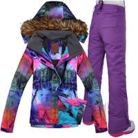 GSOU SNOW Women Ski Suit Windproof Jacket Waterproof Pant Super Warm Breathable Skiing Jacket Snowboard Trouser Outdoor Sport