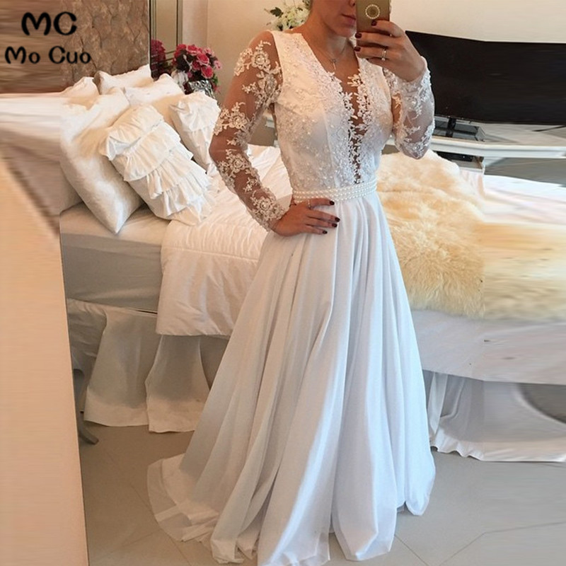 Prom-Dress Long-Sleeve Pearls Appliques Deep-V-Neck Vestido-De-Festa Lace Sheer See Though