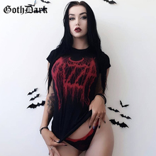 Goth Dark Harajuku Grunge Gothic T-shirts For Women Vintage Print Sexy Fashion 2019 Casual Female T-shirt Aesthetic O-neck Punk
