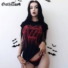 Goth Dark Harajuku Grunge Gothic T-shirts For Women Vintage Print Sexy Fashion 2019 Casual Female T-shirt Aesthetic O-neck Punk