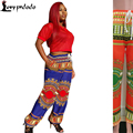 2016 New Plus Size Wide Leg High Waisted Woman Dashiki Pants Traditional African Trousers Women Tie dye Bandage Pants Hip Hop US