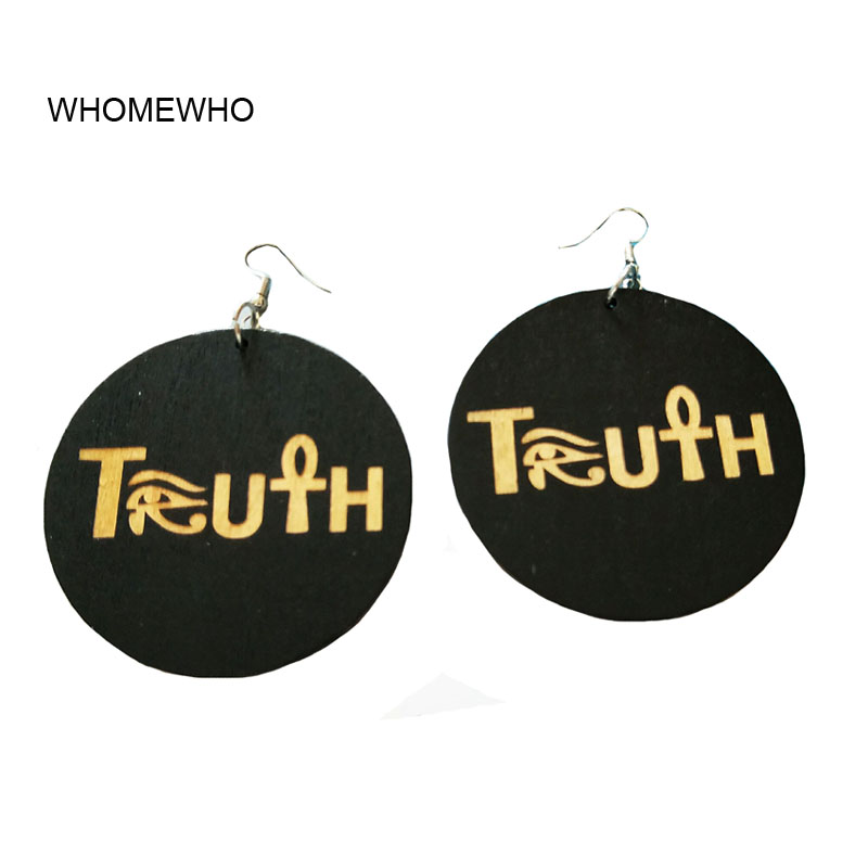 Us 184 36 Off60cm Wood Africa Truth Letters Eye Of Horus Nefertiti Egypt Afro Rock Earrings Wooden African Hiphop Tribal Party Club Jewelry In