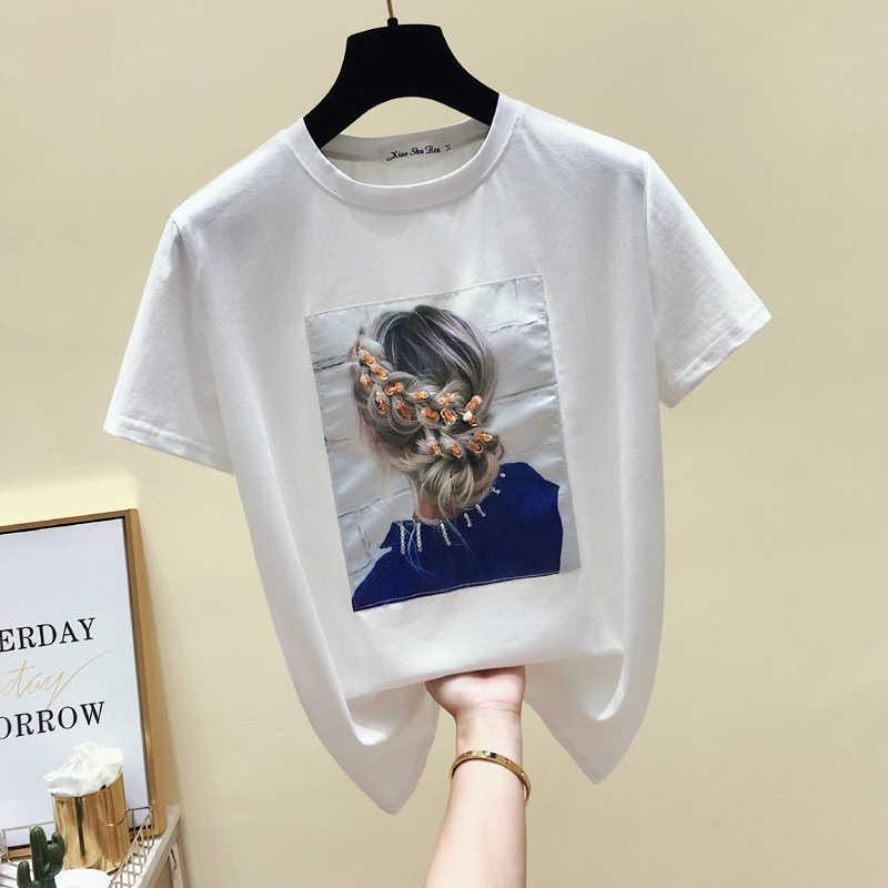 Gkfnmt קוריאה סגנון אופנה חולצה נשים חולצות כותנה שרוול קצר אפליקציות לבן חולצת טי נשים הקיץ למעלה שחור טי חולצה 2019