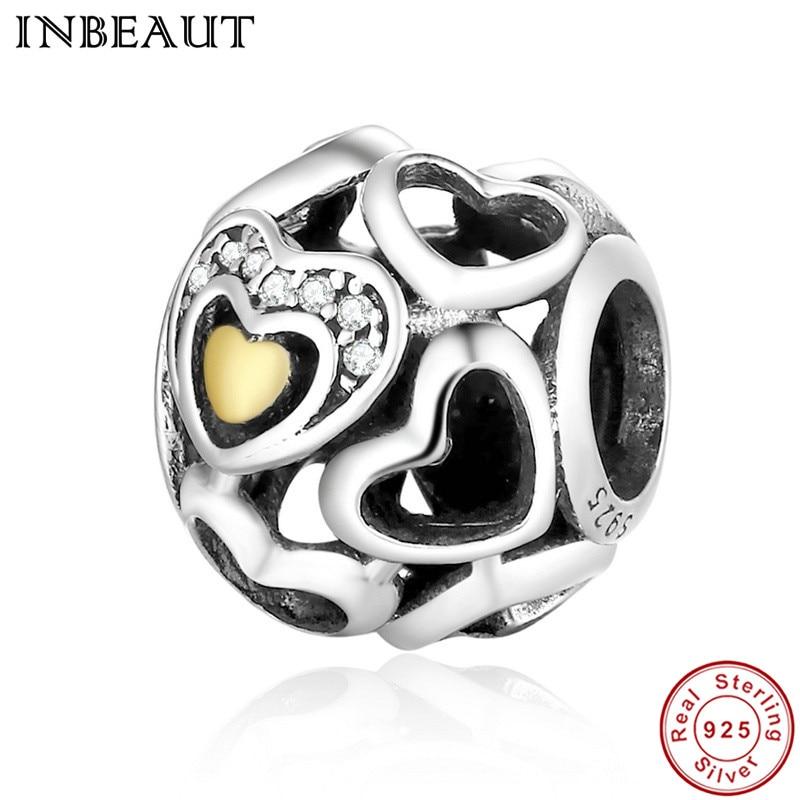 INBEAUT New Classic Pure 925 Sterling Silver Valentine Romantic Color Cut-out Heart-shaped Charms fit Pandora Charm Bracelet