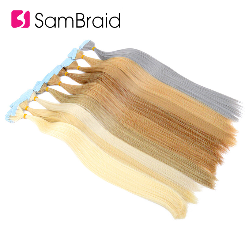 SAMBRAID Straight Tape In Hair Extension Pure Color Double Sided Adhesive Tape Hair 22 Inch 40 Pcs/pack Skin Weft Synthetic Hair