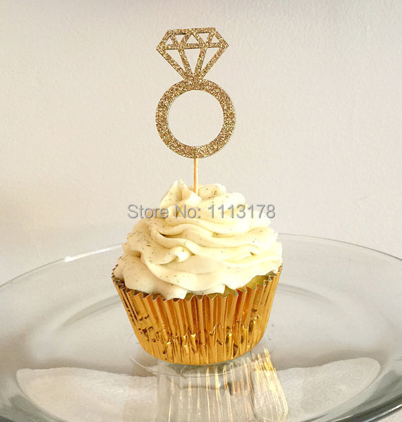 Glitter Rings Cupcake Toppers Party Baby Bridal Shower Birthday Wedding Cake Topper Decor To