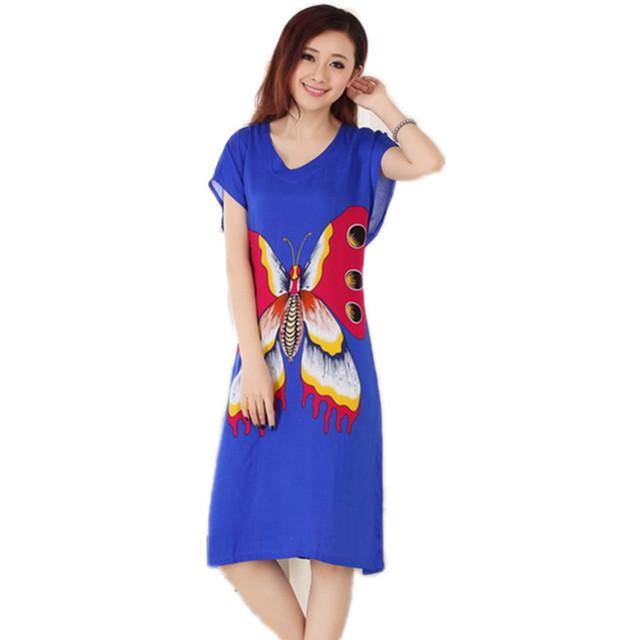 Nova Chegada Borboleta Azul de Verão da Senhora de Manga Curta Camisola de Algodão Estilo Chinês Roupão de Banho Vestido Sleepwear Um Tamanho T070