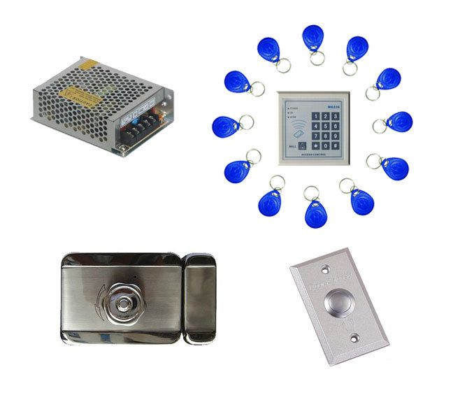 Free ship by DHL ,access control kit ,one EM keypad access control+power+mute electronic lock+exit button+10em key fob,sn:em-010 free ship by dhl access control kit waterproof access control switch power electric mute lock exit button 10 em cards sn em t10