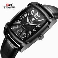 TEVISE Relogio Automatico Masculino Self Wind kreatywne zegarki męski zegarek mechaniczny Sport moda biznesowa kwadratowa tarcza pudełko w Zegarki mechaniczne od Zegarki na