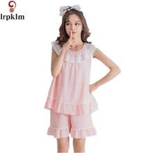 Brand Women Pajamas Lace Pyjamas Women O-Neck Sleeveless Women Summer Pajamas  Sets Personality Homewear 864d40165
