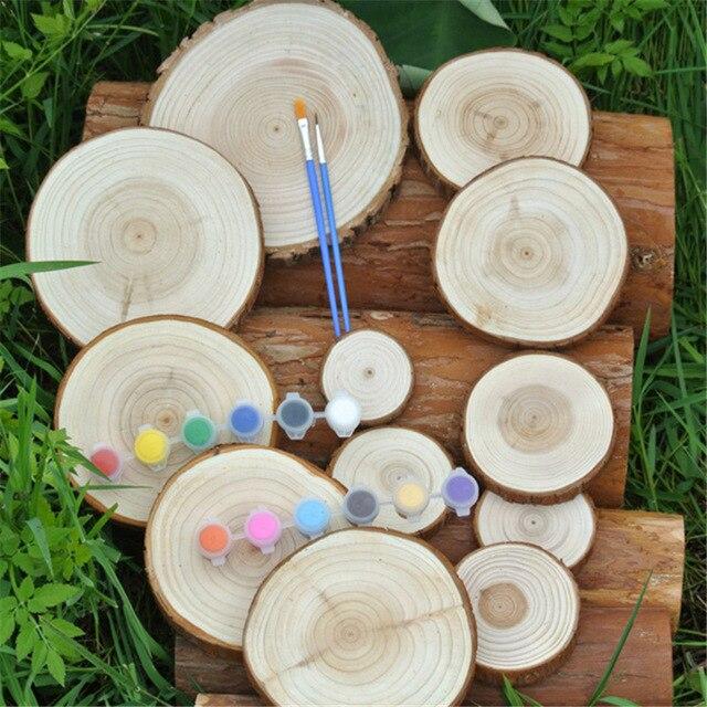 20pcs Diy Handcraft Wood Material Diy Wood Crafts Log Sheet Wood