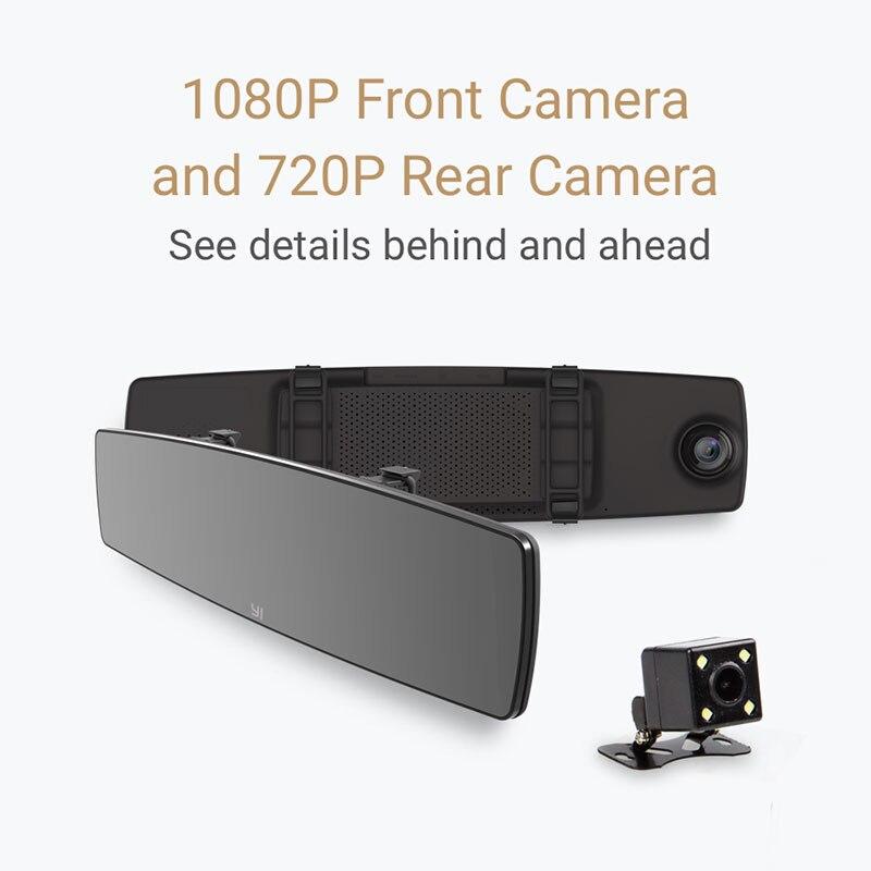 YI зеркальный видеорегистратор с двойной приборной панелью, видеорегистратор с сенсорным экраном, фронтальная камера заднего вида HD, g-сенсо...