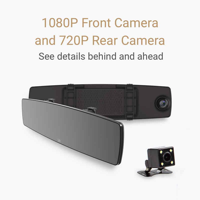 YI зеркало Dash Cam двойной приборной панели камера рекордер сенсорный экран спереди заднего вида HD камера G сенсор ночное видение Парковка монитор