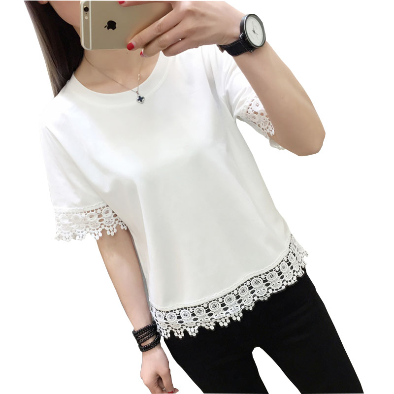 Poleras De Mujer Moda 2018 Lace T-Shirt Women T Shirt Femme Womens Tops Summer Tshirt Cotton Loose Casual Woman Korean Clothes