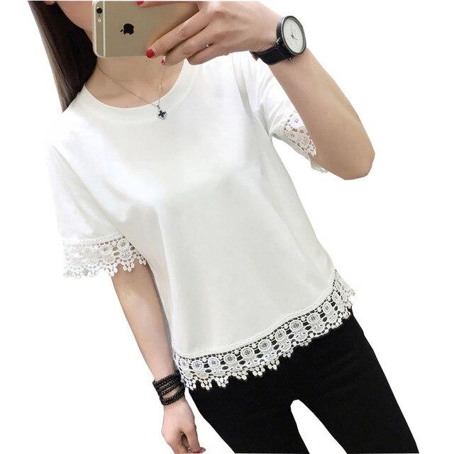 bb066ea9b2fe2 Poleras de mujer moda 2018 Encaje camiseta mujer t-shirt Femme mujer Tops  verano camiseta