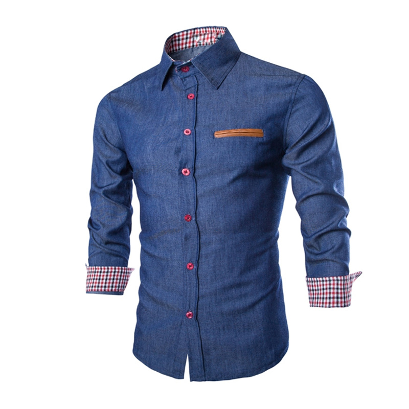 Newly Fashion Men Denim Jeans Shirt Casual Long Sleeve Slim Fit Cotton Tops Shirts VK-ING