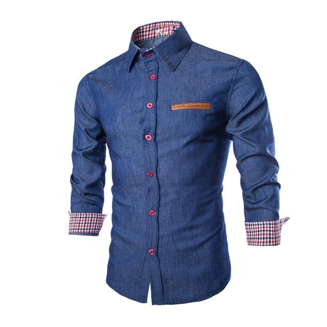 Denim Jeans  Casual Long Sleeve Slim Fit Shirt