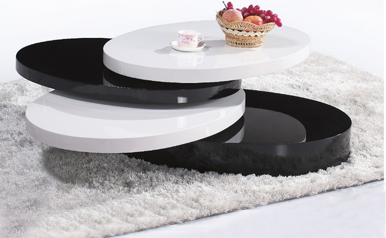 Modern Table, Tea Table / Coffee Table, MDF+Specular Paint , Rotate Round Smart And Personality Creative Table 379#