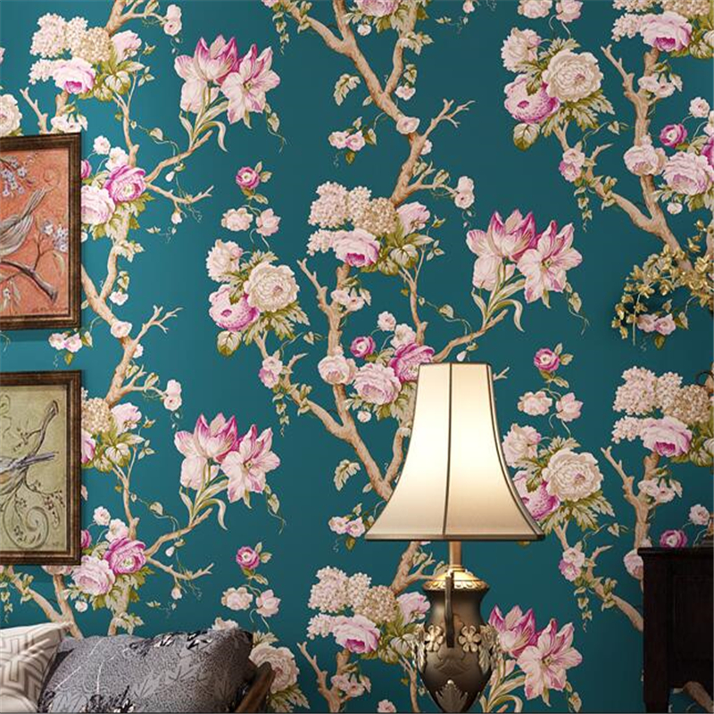 ФОТО beibehang papel de parede American Rural Pastoral Retro Green Large Flower Wallpaper Bedroom Living Room Bedside Background