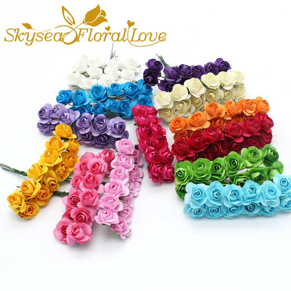 12 sztuk sztuczne kwiaty handmade materiał DIY 2CM mini róże wieniec kwiatów kapelusz pudełko cukierków prezent pudełko rzemieślnicze sztuczne kwiaty