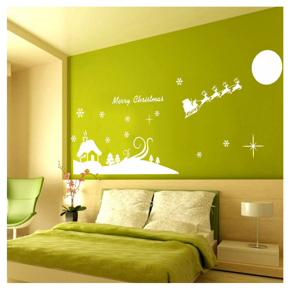 Christmas Atmosphere Characters Glass Sticker Window Dressing Decal ...