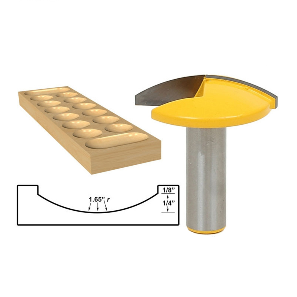 1/2*1-3/4in Thin Crown Moulding Router Bit with Rounded Bottom Bowl-shaped cutter Engraving Machine Milling Tool for Woodworking high grade carbide alloy 1 2 shank 2 1 4 dia bottom cleaning router bit woodworking milling cutter for mdf wood 55mm mayitr