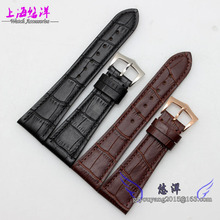 Hot 25mm Top Grade Genuine Black Brown Leather Watch Band Strap Rose Gold Clasp