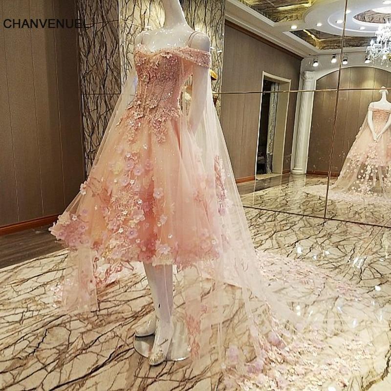 White Wedding Espa L: LS00078 Short Evening Dress With Long Cape Lace Flowers