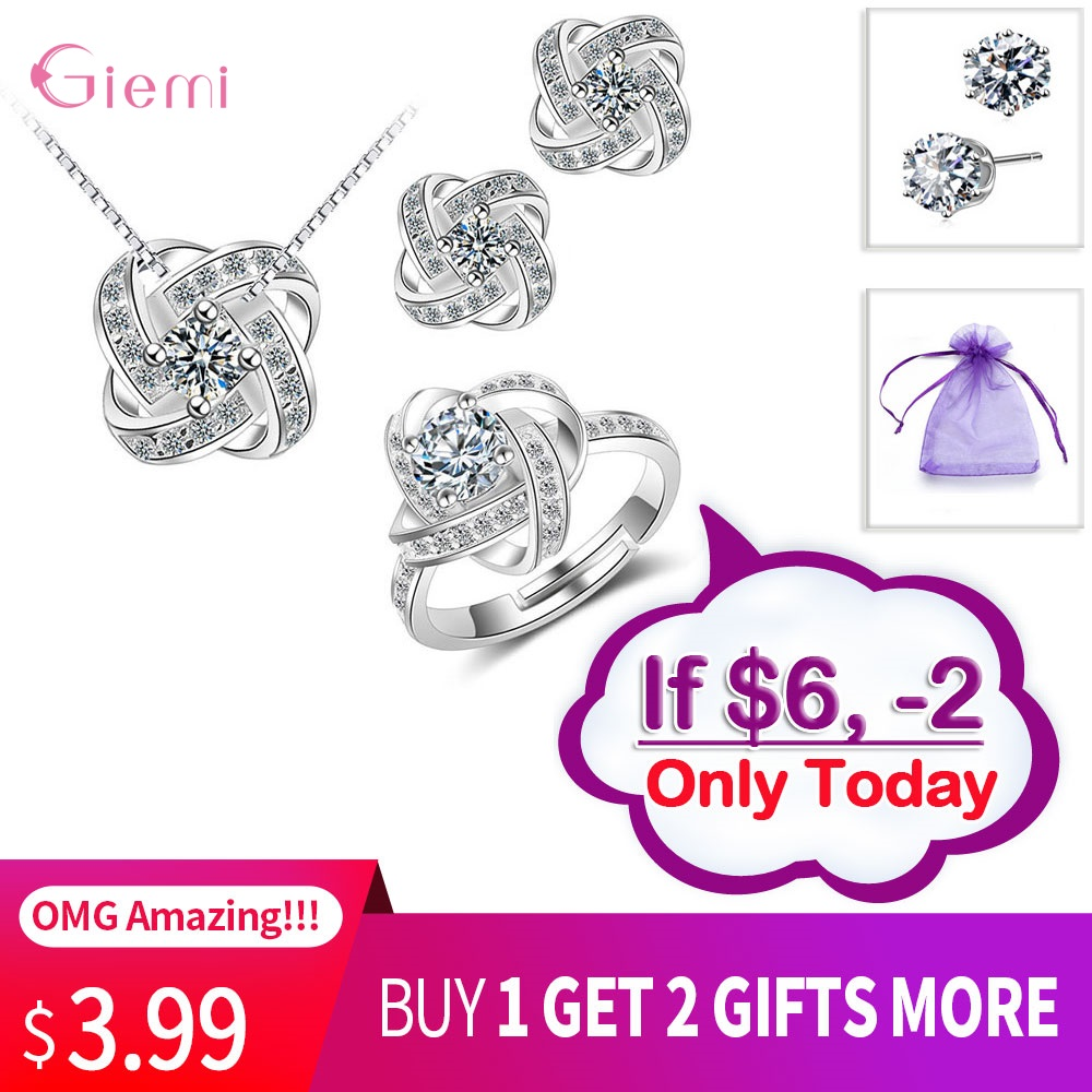 Bridal Wedding Jewelry Set 925 Silver Endless Love Necklace Earrings Rings Engagement Anelli Trendy Jewellery