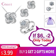 Hot Sale Bridal Wedding Jewelry Set 925 Silver Endless Love Necklace Earrings Rings For Women Engagement Anelli Trendy Jewellery(China)