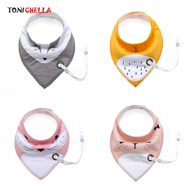 Baby Bibs Pacifier Chain Triangle Waterproof Towel Cotton Infant Bandana Accessories Boys Girls Toddler Saliva Towels CL5094
