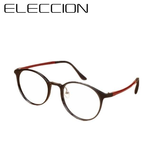 22758f8058 ELECCION High Quality Korea Ultralight Men Retro Round Ultem Tungsten Eyeglasses  Women Fashion Optical Glasses Frame 2056