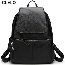 CLELO Women Backpack High Quality PU Waterproof Preppy Style School Bags For Teenagers Girls Female Shoulder Bag Trvel Bag