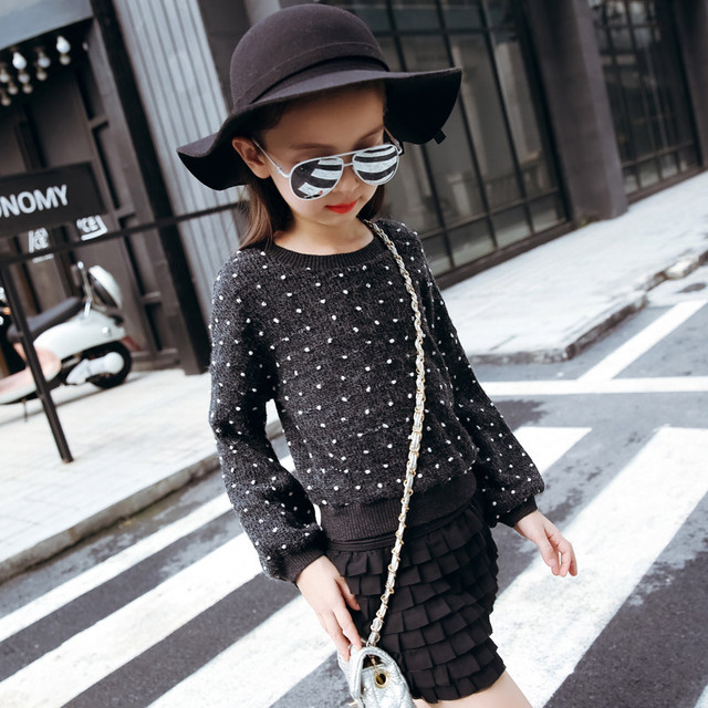 New Autumn and Winter Wear Girls Long Sleeved Sweater Children Kids Clothing 5 Colour Dot
