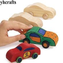 4 шт./партия. Краски Незаконченный из плотной древесины автомобиль Детский сад декоративно-прикладного искусства для раннего развития игрушки подарки на день рождения для мальчиков Игрушка