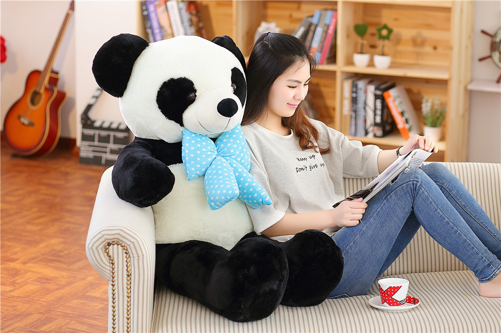 big new plush panda toy high quality lovely bow panda doll gift about 100cm the huge lovely hippo toy plush doll cartoon hippo doll gift toy about 160cm pink