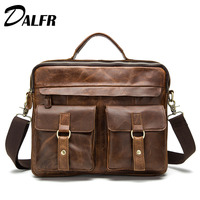 DALFR Genuine Leather Messenger Bags 16 Inch 18 Inch Cowhide Handbags Zipper Vintage Style Bags For