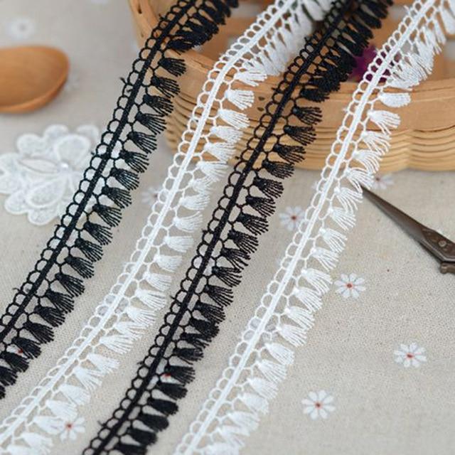 10Yards Vintage Fringe Black White Lace Trim Edge Wedding Tassel Lace Tape  Polyester Applique Sewing Craft d4c0e5b6871f