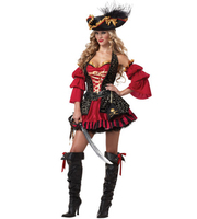 New Luxury 5 Pieces Spanish Black Red Pirate Costume Adult Women Halloween Costume S M L