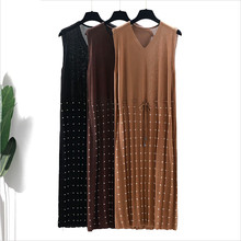 цена на elegant knit summer Drawstring straight Dot dress Women Linen loose v-neck sleeveless Dress office dress female midi dress