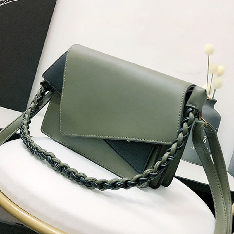 ETAILL Fashion Panelled Women Bags Europe and America Style Knitting Strap Shoulder Bag Pu font b