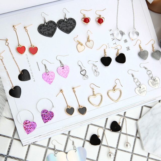 YOBEST, в форме сердца, фланелевые висячие серьги, набор для женщин, девочек, Brincos, черный, красный, розовый, серьги, подарок для вечеринки, ювелирные изделия