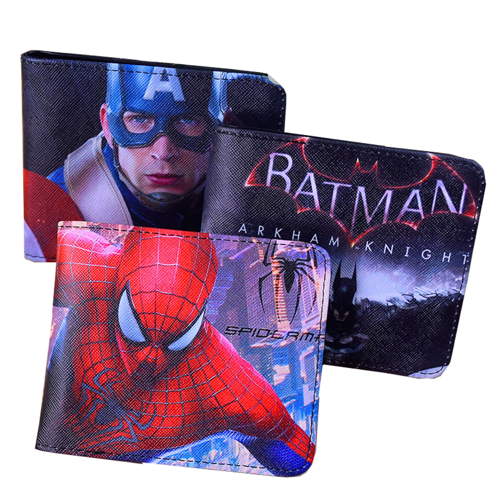 2018 New Marvel America Captain Anime Design Men Wallet Short Style Wallet Cartoon Batman Spiderman Coin Purse Change Carteira dc marvel comics wallets cartoon anime iron man spiderman captain america hulk creative gift purse kids folder short wallet