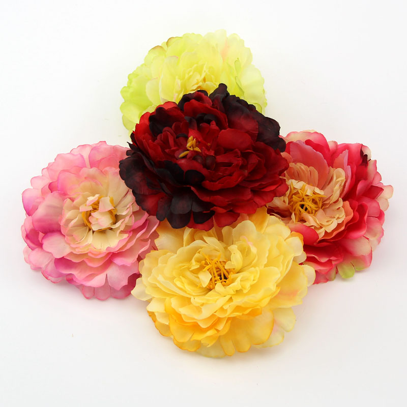 20PCS 12CM Big Size Artificial Silk Simulation Peony Flower Head For Home Wedding Party Decoration DIY Scrapbooking Fake Flowers