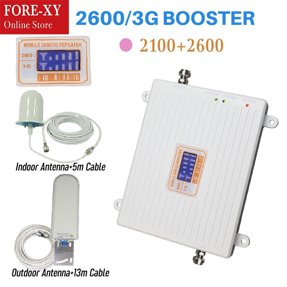 65db 3g 2100 répéteur téléphone portable Signal 2100 MHz répéteur Mobile 2600 MHz amplificateur de Signal LCD Mini 3G LTE WCDMA UMTS maison