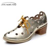 جلد طبيعي حجم كبير امرأة أحذية الولايات 9.5 مصمم خمر الصنادل جولة تو اليدوية الفضة الذهب 2017 سبنج أكسفورد الأحذية