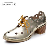 Genuine leather big woman shoes US size 9.5 designer vintage Sandals round toe handmade silver gold 2018 sping oxford shoes